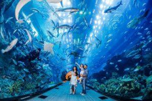 family at dubai aquarium