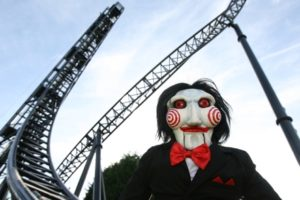Amusement park rides based on The Saw movie.